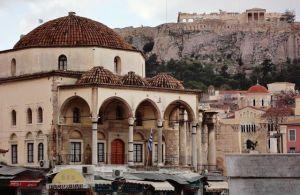 Tzisdarakis Mosque and Acropolis in Monastiraki Athens Greece - image by Antonio Fajardo López